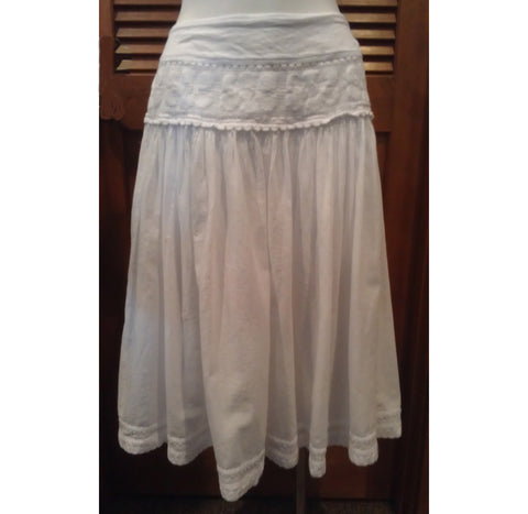Floral Embroidered-Lace Cotton Gauze Skirt
