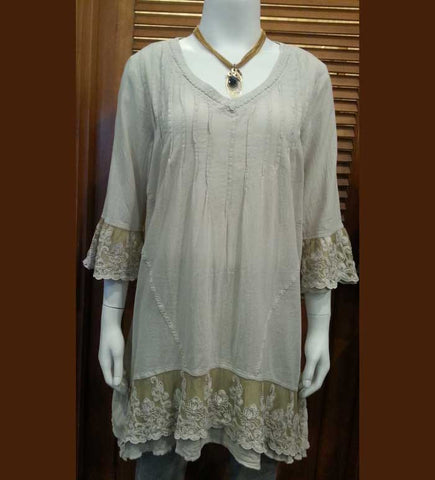 Three-Quarter Sleeve Embroidered Lace Tunic by Gretty Zueger