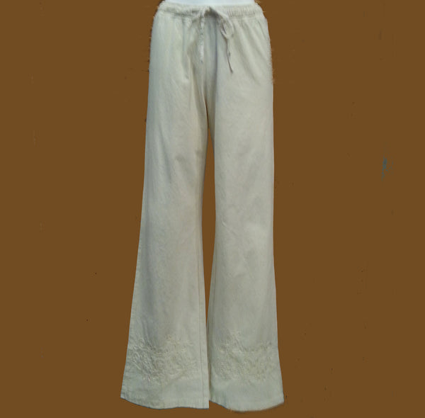 Long Embroidered Drawstring Pants by Gretty Zueger