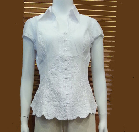 Cap-Sleeve Button Down Collared Blouse