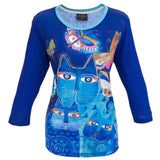 Laurel Burch Indigo Cats 3/4 Sleeve Artistic Top