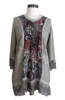 Floral Print Three-Quarter Sleeve Vintage Tunic