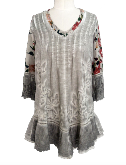 Floral Print Lace Trimmed Tunic