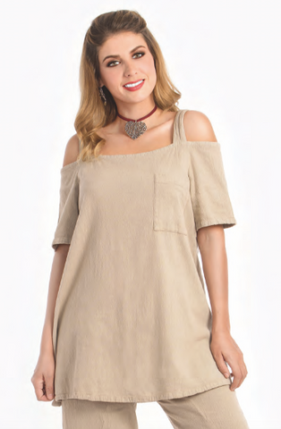 Ibis Open-Shoulder Blouse by Dunes