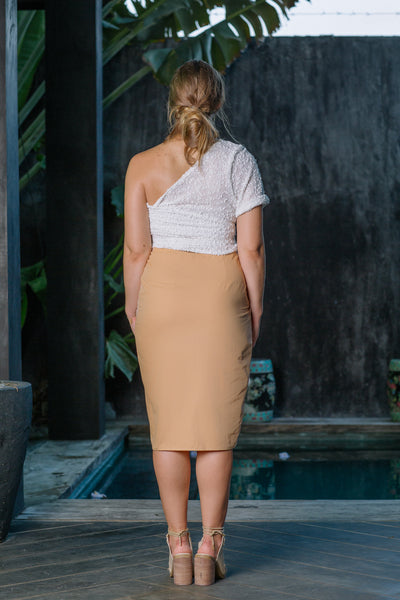 PEARL MIDI SKIRT - PEACH TAN