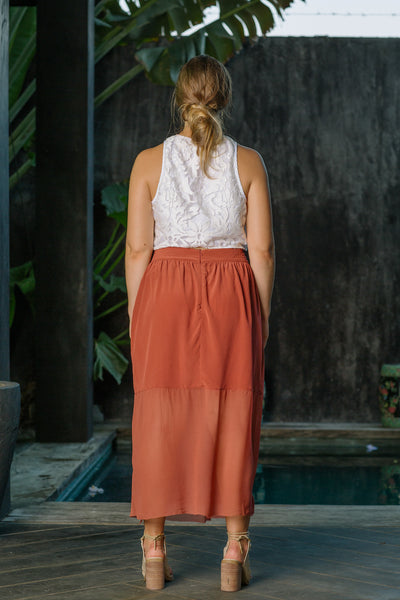 GOSSAMER SILK SKIRT - MARRAKESH RED