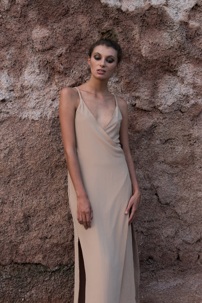 BERMAIN WRAP DRESS - TAN