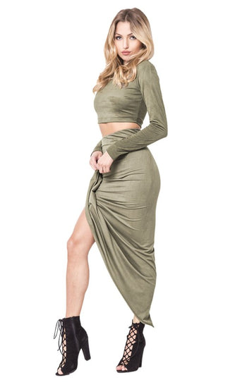 High Waist Wrap Suede Skirt Set - Candles Fashion House
