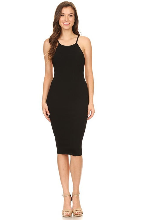 Low Cut Side Midi Dress - Candles Fashion House
