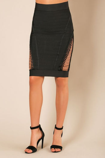 Caged Bandage Pencil Skirt - Candles Fashion House