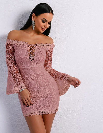 Crochet Short Lace Up Front Dress - Candles Fashion House