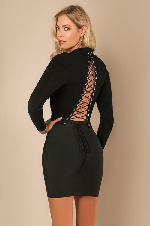 Open Back Lace-up Sweater - Candles Fashion House