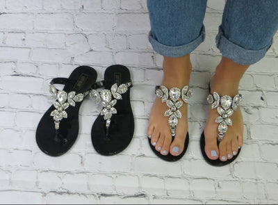 Jasmine Rhinestone Jelly Sandals
