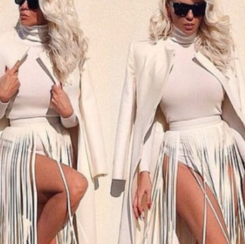 Italian White Long Fringe Skirt - Candles Fashion House
