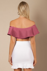 Off Shoulder Ruffle Crop Top - Candles Fashion House
