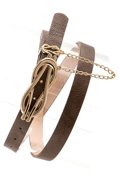 Faux Leather Gold Buckle Skinny Belt - Candles Fashion House