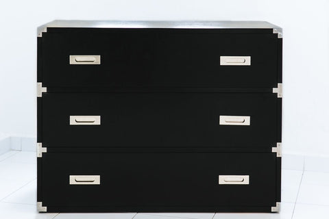 Custom Made Black Chest Of Drawers with Stainless Steel Finish