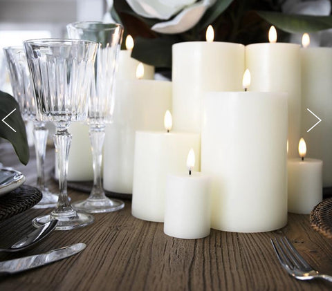 "Flameless Wax Candle 4 X 8"" Nordic White"