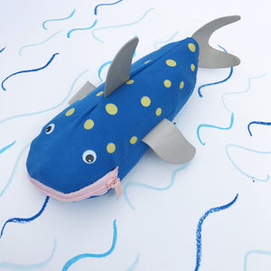Sharky Crayon Case - Dark Blue & Yellow - Lunables