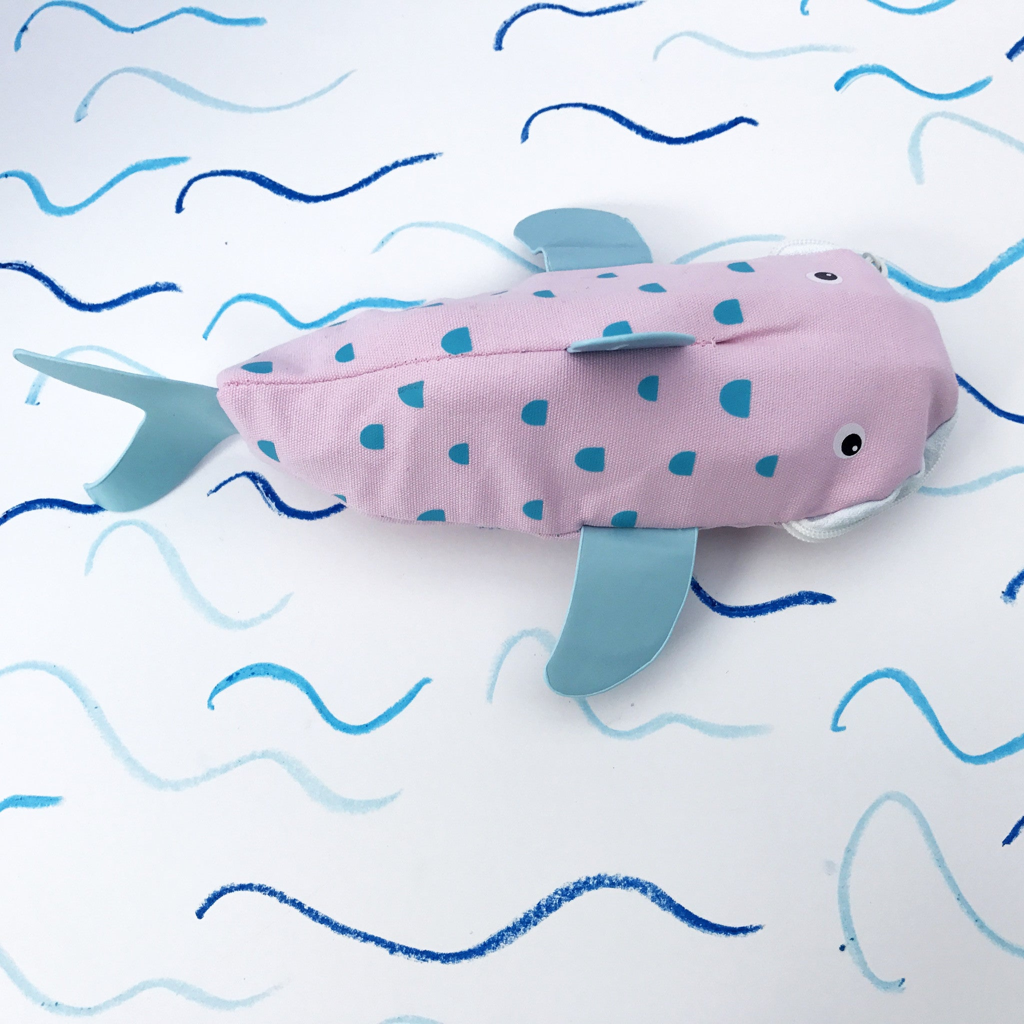 Sharky Crayon Case - Pink & Light Blue - Lunables