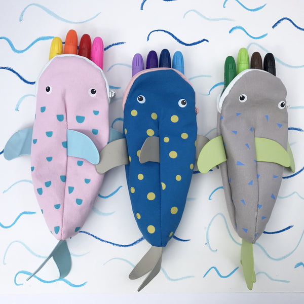 Sharky Crayon Case - Grey & Green - Lunables