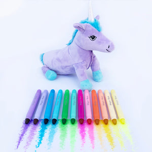 Unicorn Pencil Case & Magic Waxi™ Neon Gel Crayon 12 Pack (Combo) - Lunables