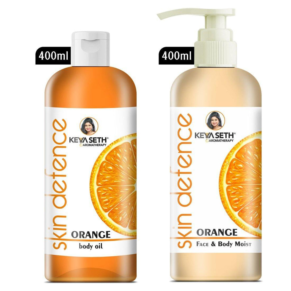 Complete Winter Skin Care Combo Enriched with Vitamin C, Skin Defence Orange Body oil 400ml + Orange Face & Body Moisturizer 400ml