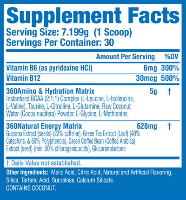 360 Amino Energize Nutritional Facts