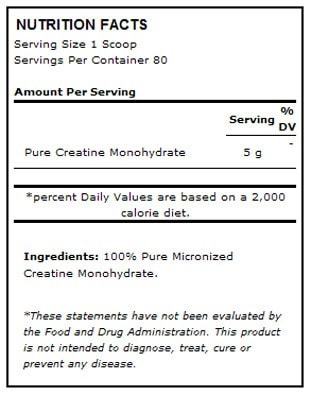 ISS Complete Creatine Power Nutrition facts