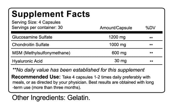 Nutrakey Glucosamine Chondroitin MSM Nutrition facts