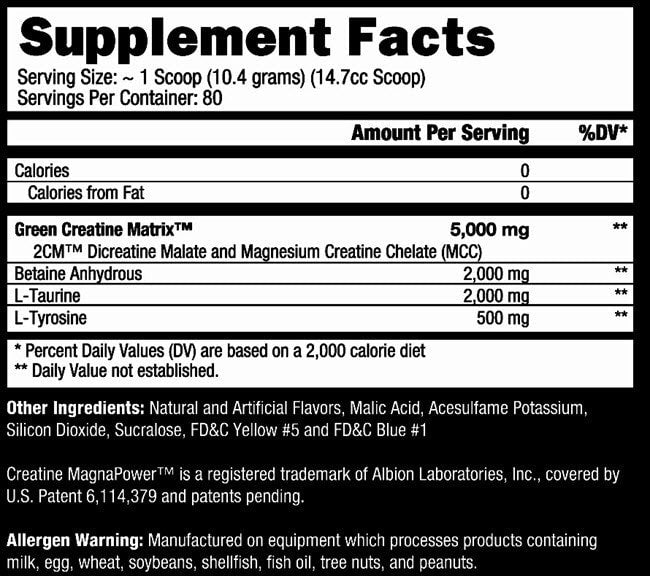 Controlled Labs Green Magnitude Nutrition Facts