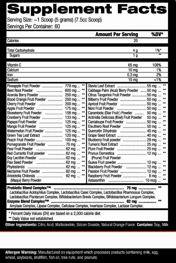 Controlled Labs Orange Oximega Reds Nutrition facts