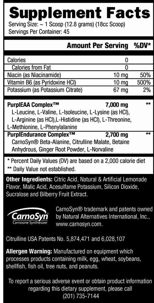 Controlled Labs Purple Wraath Nutrition facts