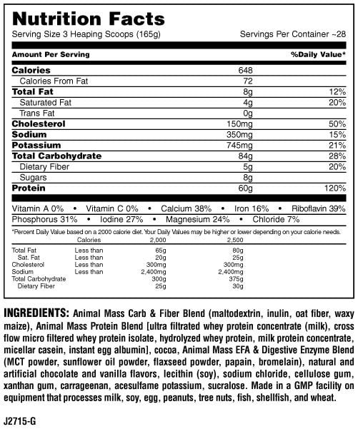 Universal Nutrition Animal Mass Nutrition facts