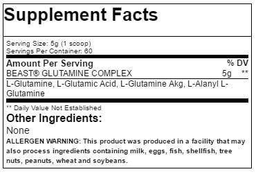 Beast Sports Nutrition Glutamine Nutrition Label