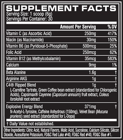 Cellucor C4 Ripped Nutrition facts