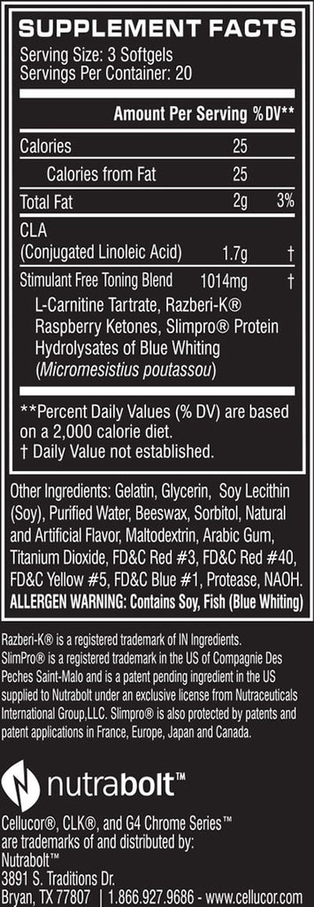 Cellucor CLK Nutrition facts