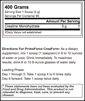 Primaforce Creaform Nutrition facts