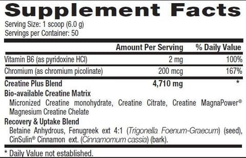 Betancourt Nutrition Plus Series Creatine Plus Nutrition Label