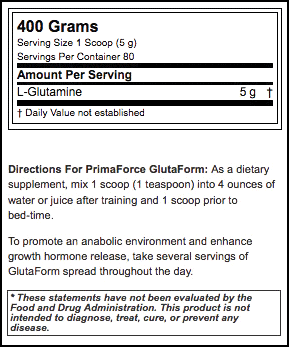 Primaforce Glutaform Nutrition facts