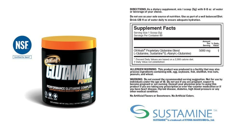ISS Oh Yeah Glutamine Power Nutrition facts