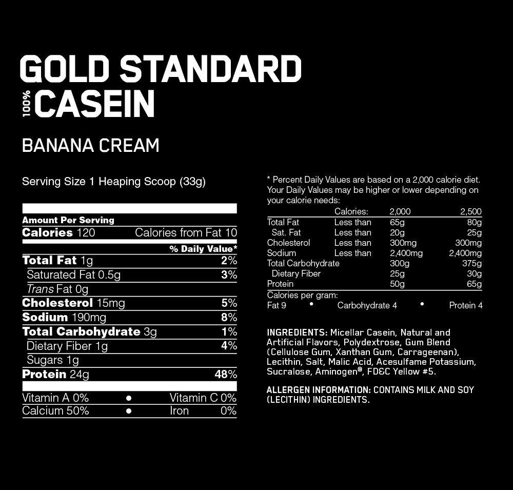 Optimum Nutrition Gold Standard 100% Casein Nutrition facts
