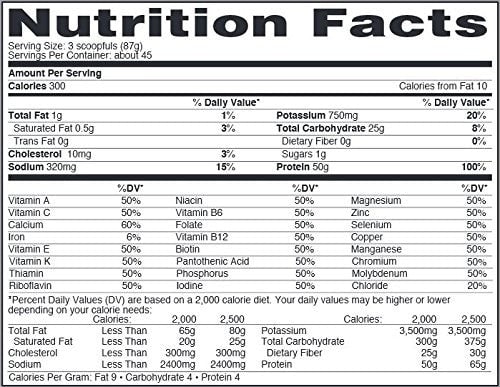 Nature's Best Perfect Isopure Protein Nutrition facts