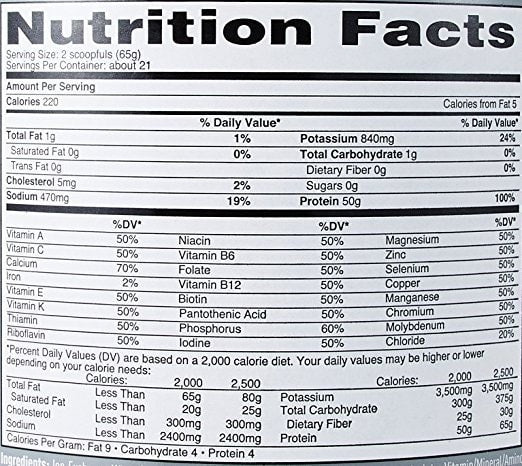 Nature's Best Isopure Protein Powder with Coffee Nutrition facts