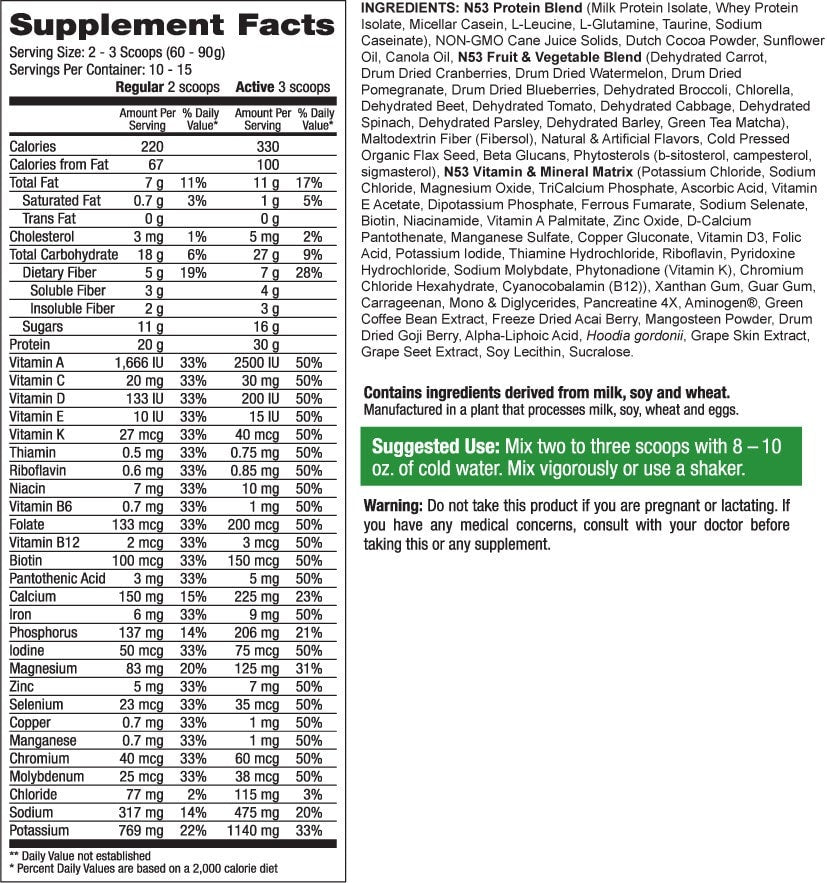 Nutrition53 Lean1 Protein Nutrition facts