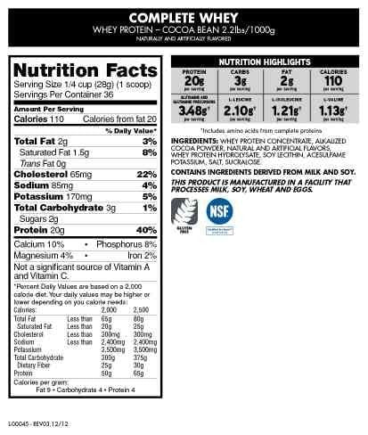 CytoSport Complete Whey Protein Nutrition facts