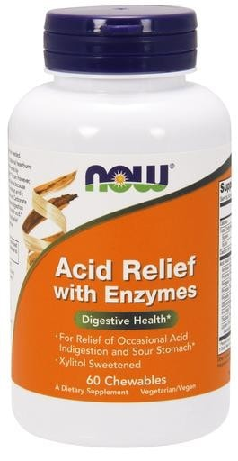 NOW Foods Acid Relief Chewables with Enzymes 60 chewables - AdvantageSupplements.com