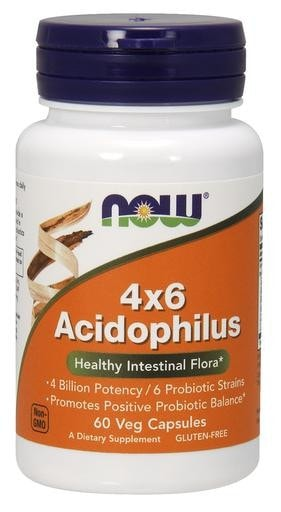 NOW Foods 4x6 Acidophilus 60 Veggie Caps - AdvantageSupplements.com