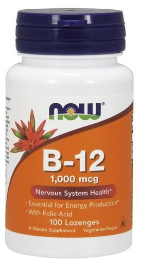 NOW Foods B-12 Chewables 1000mcg with Folic Acid 100 Lozenges