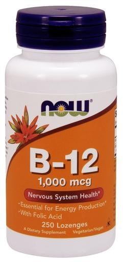 NOW Foods B-12 Chewables 1000mcg with Folic Acid 250 Lozenges